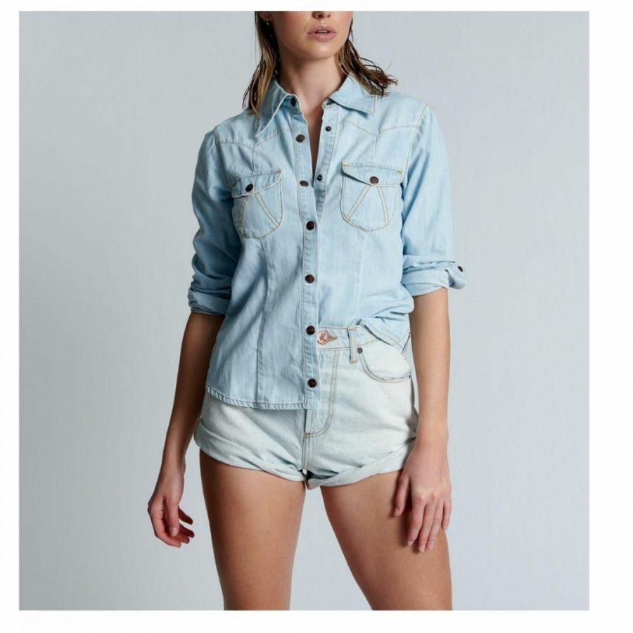 Belair Blufitted Denim Sh Womens Tops Colour is Belair Blue
