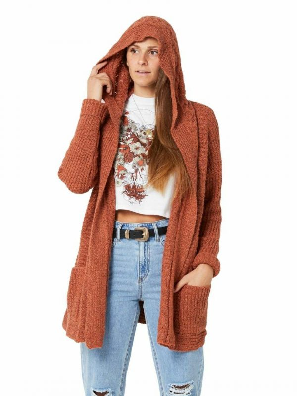 Homeward Bound Ii Womens Hooded Tops And Crew Tops Colour is Brick