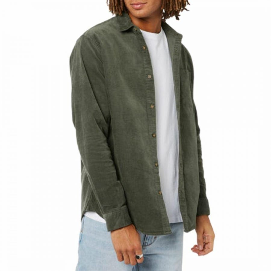 Batemans L/s Cord Shirt Mens Tee Shirts Colour is Dark Olive