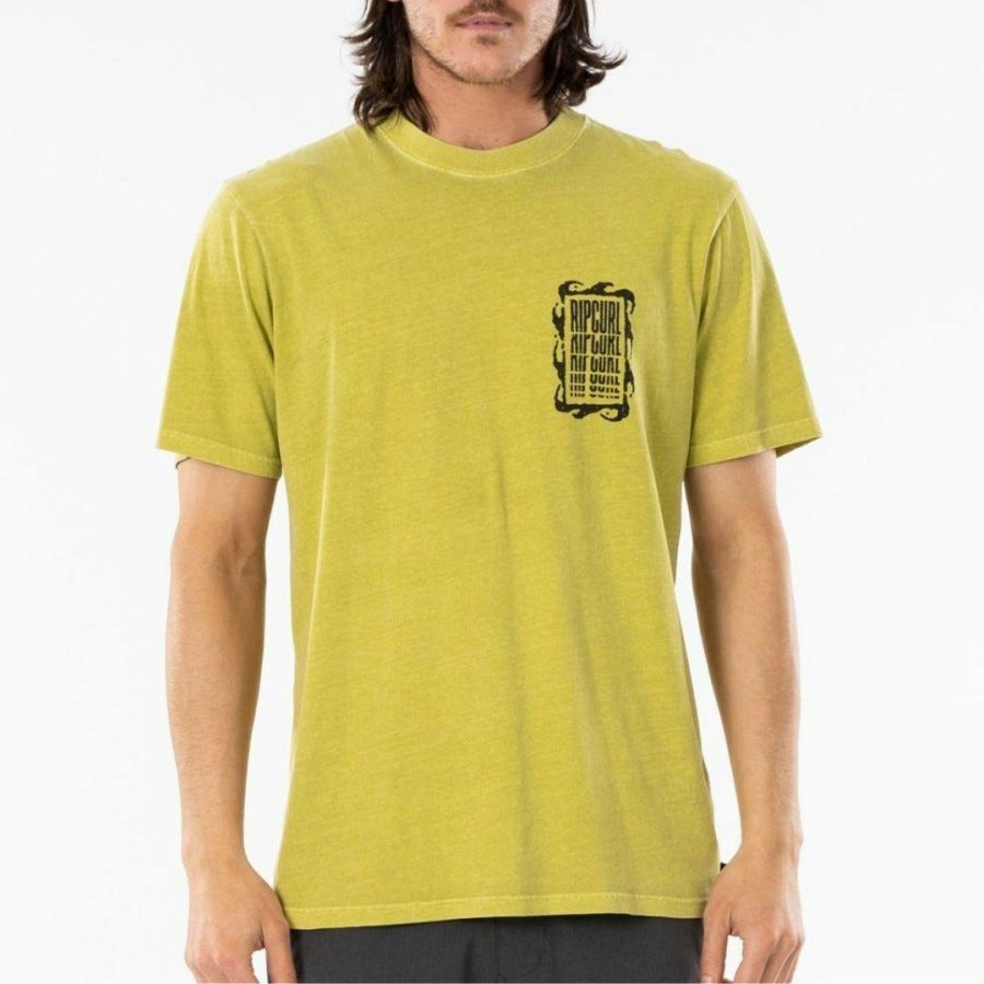 Mind Wave Collage Tee Mens Tee Shirts Colour is Washed Lime