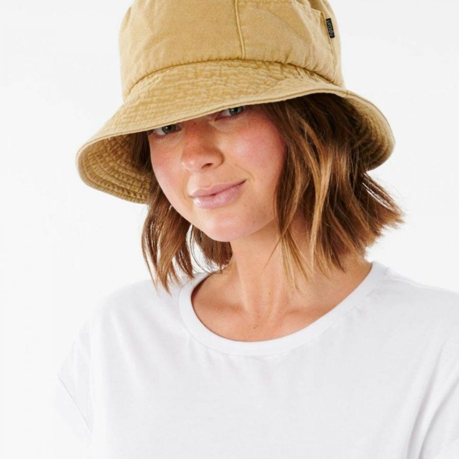 Washed Bucket Hat Womens Hats Caps And Beanies Colour is Mustard