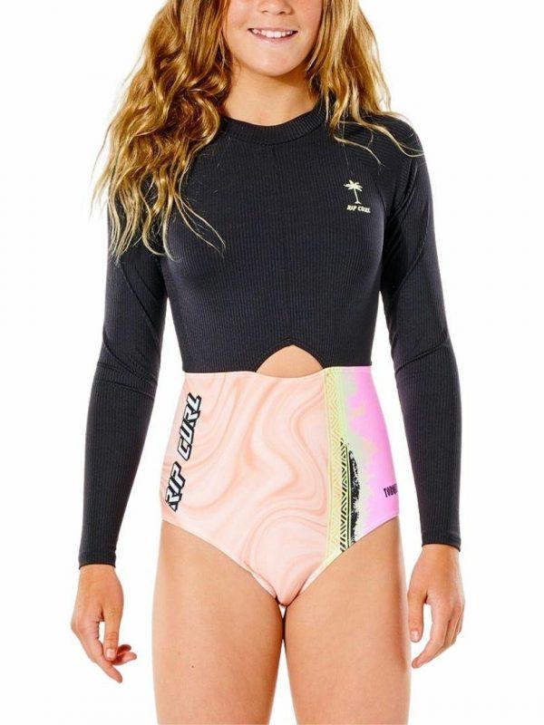 Twin Fin Surf Suit - Girl Girls Swim Wear Colour is Black