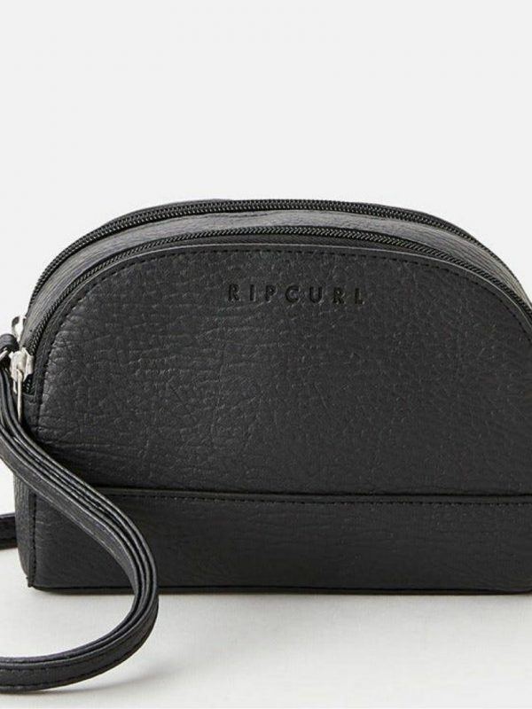 Essentials Dual Cross Bod Womens Travel Bags And Backpacks Colour is Black