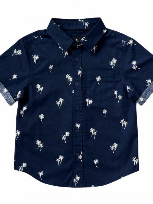 Paradise Palms Shirt- Boy Kids Toddlers And Groms Tee Shirts Colour is Navy