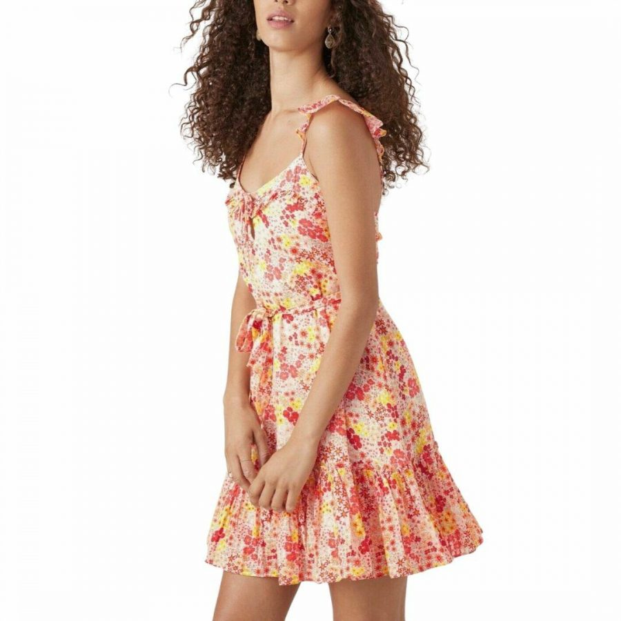 Pallavi Floral Frill Dres Womens Skirts And Dresses Colour is Marigold