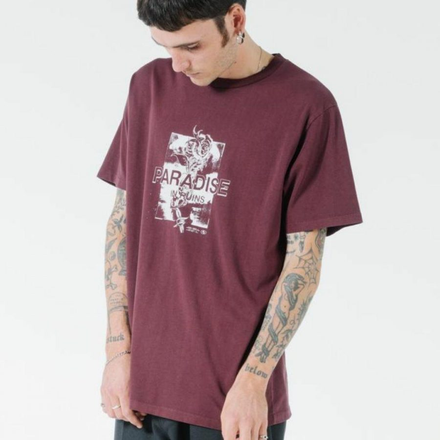 Hidden Paradise Tee Mens Tops Colour is Blood Red