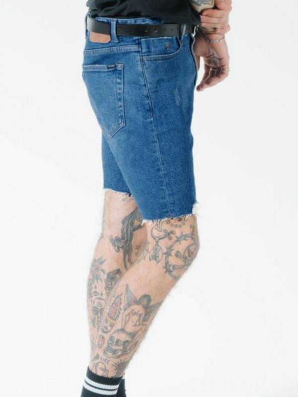 Destroyed Denim Short Mens Pants And Jeans Colour is Rinsed Blue
