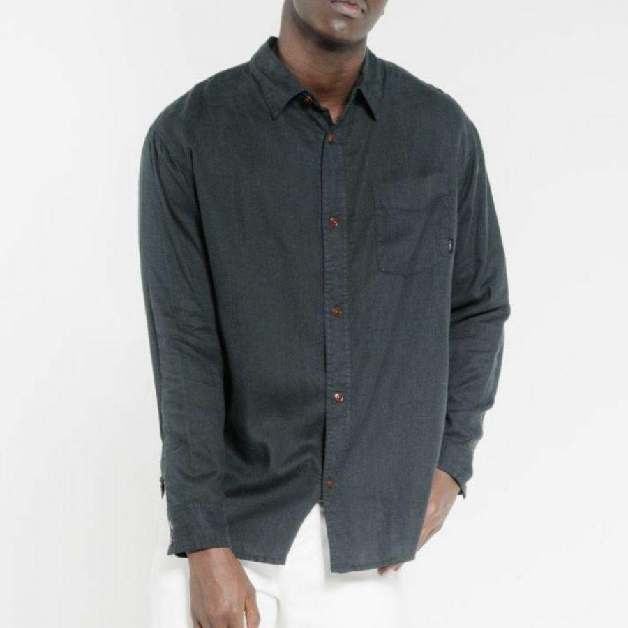 Minimal Thrills Os Lsshrt Mens Tops Colour is Black
