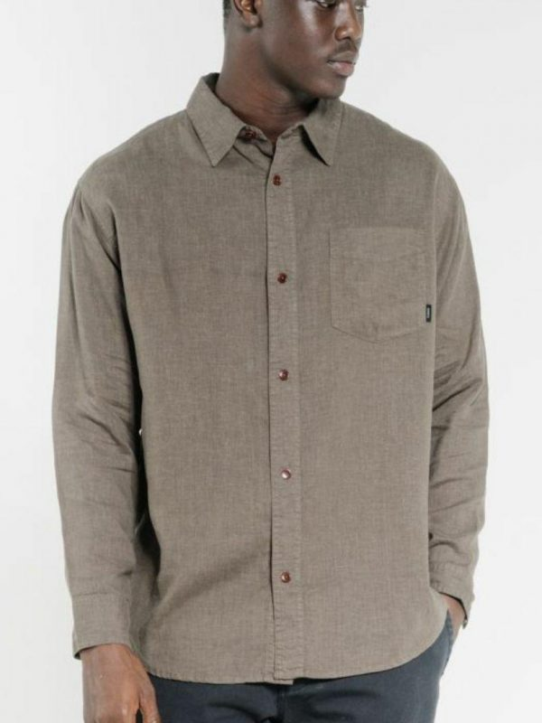 Minimal Thrills Os Lss Mens Tops Colour is Military