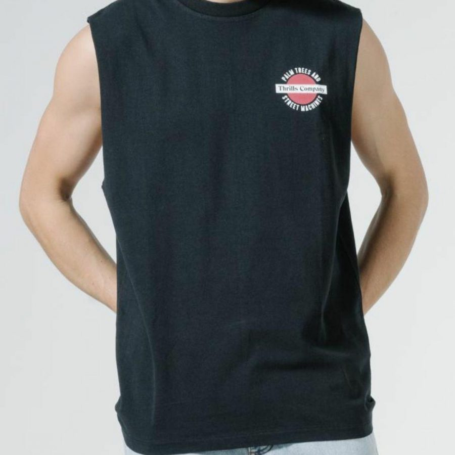 Thrills Merch Fit Muscle Mens Tanks And Singlets Colour is Black
