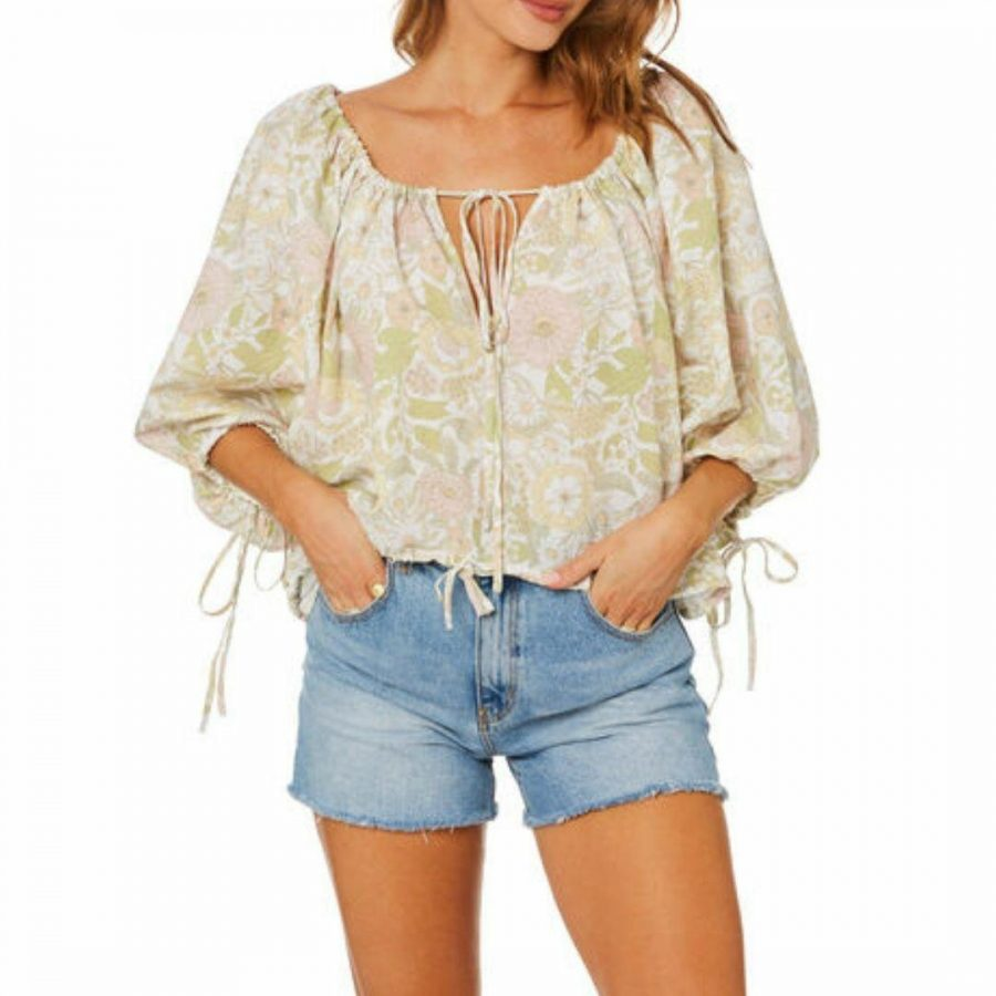 Mila Blouse Womens Tops Colour is Olive Floral