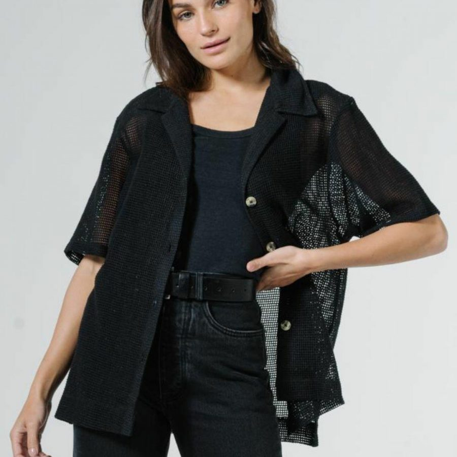 Mesh Slouch Shirt Womens Tops Colour is Black