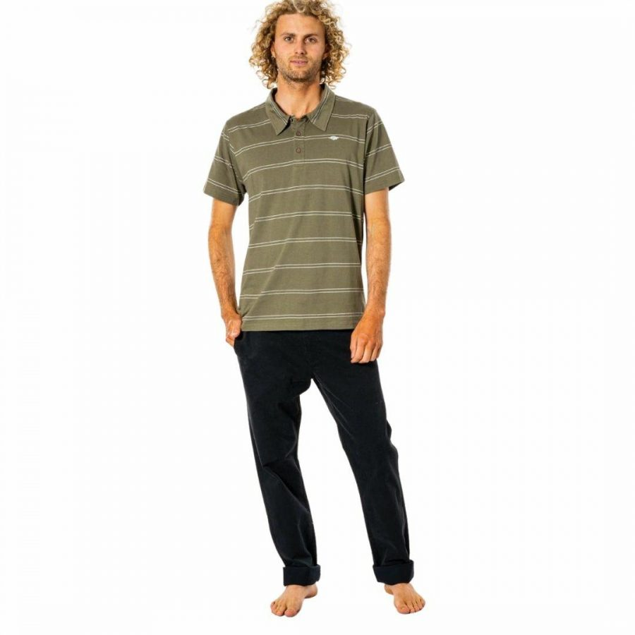 Plain Stripe Polo Mens Tops Colour is Dusty Olive