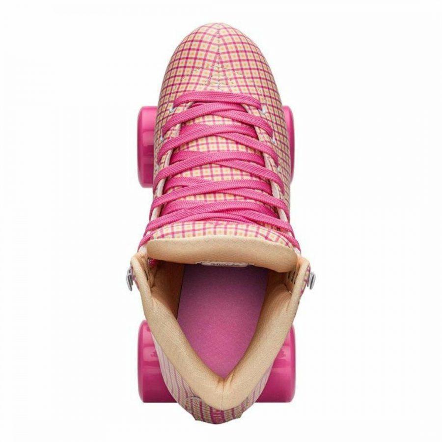 Pink Tartan Quad Skate Womens Roller Skates Colour is Pink Tartan