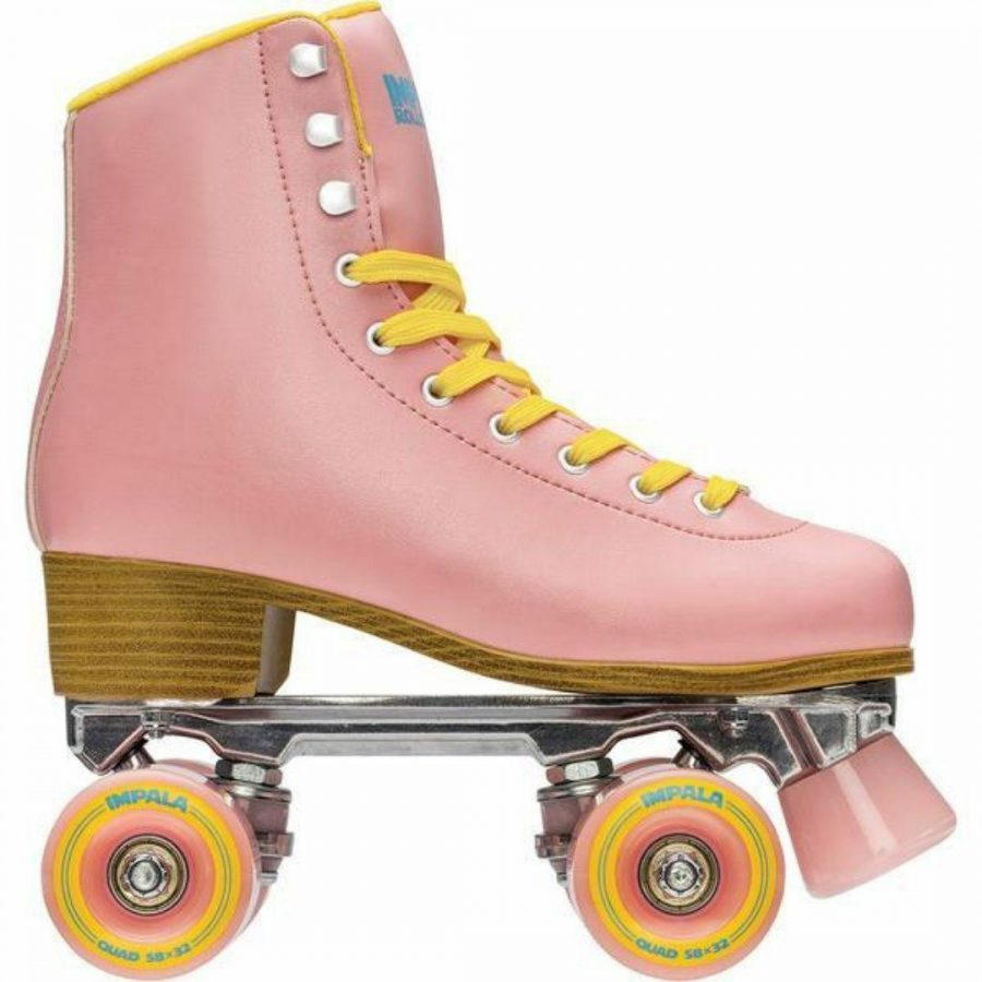Pink Yellow Quad Skate Womens Roller Skates Colour is Pink Yellow