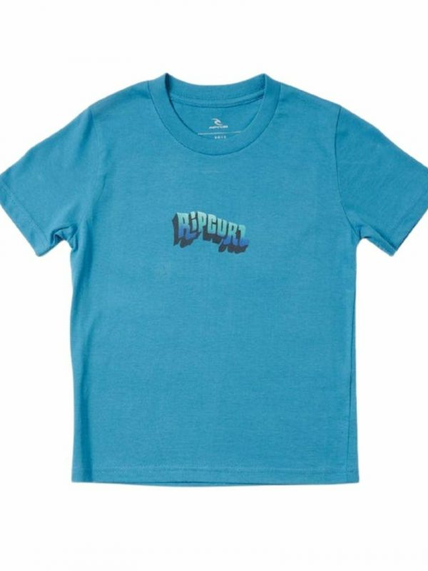 Wavey Logo Tee - Boys Kids Toddlers And Groms Tee Shirts Colour is Ocean