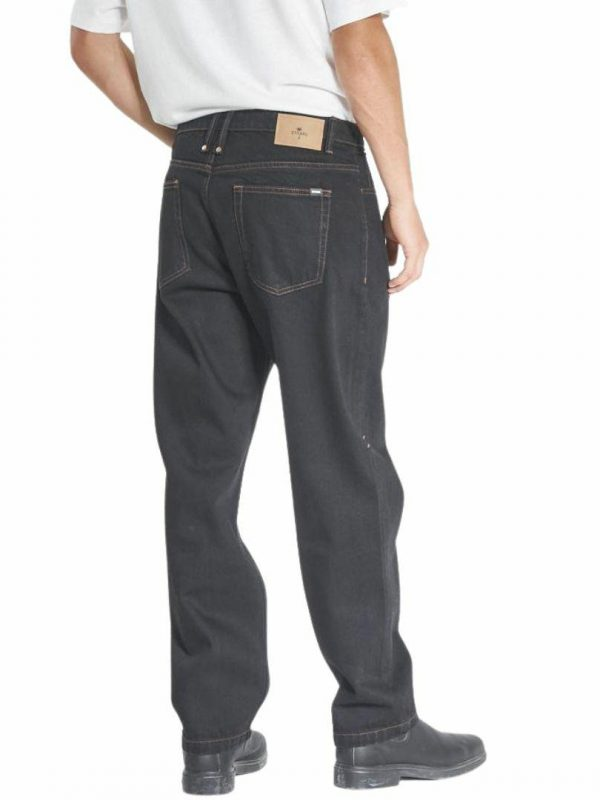 Slacker Denim Jean Mens Pants And Jeans Colour is Black Tobacco Stitch