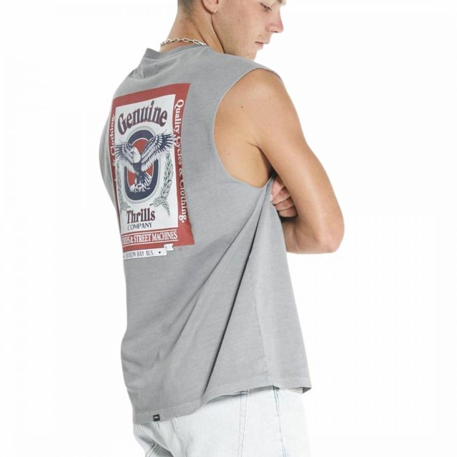 Genuine Merch Fit Muscle Mens Tanks And Singlets Colour is Washed Grey