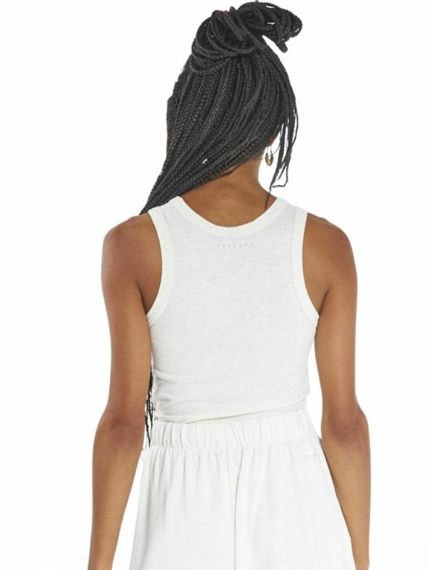 Hemp Racer Front Tank Womens Tanks And Singlets Colour is Dirty White
