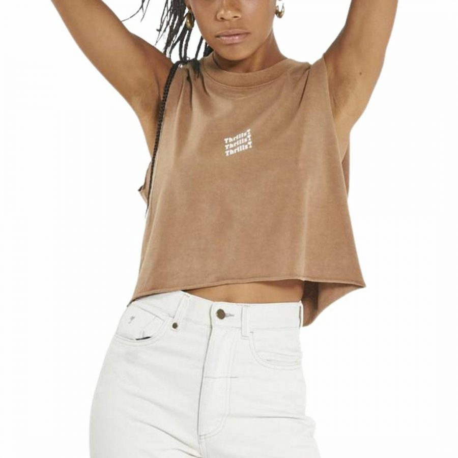 Thrills Unlimited Crop Womens Tanks And Singlets Colour is Tobacco