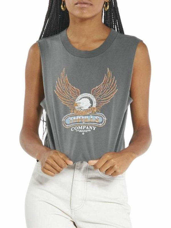 Steadfast Crop Muscle Womens Tanks And Singlets Colour is Merch Black