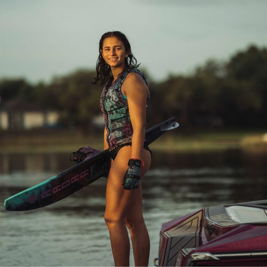 2022 Lyric Womens Water Skis Colour is White Coral Mint