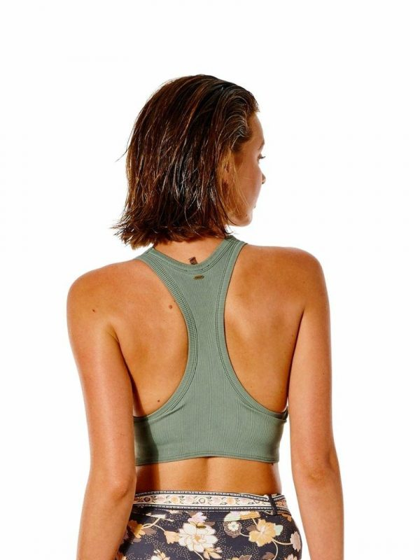 Surf Gypsy Knot Crop Womens Swim Wear Colour is Olive