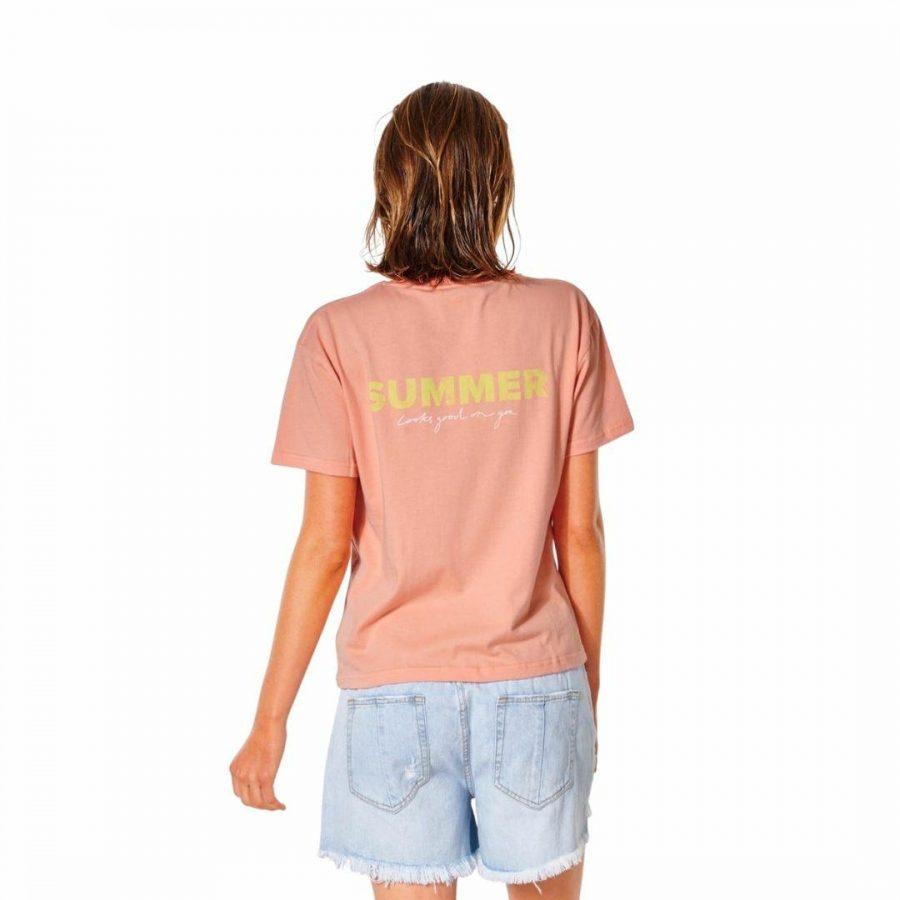 Summer Relaxed Tee Womens Tee Shirts Colour is Peach