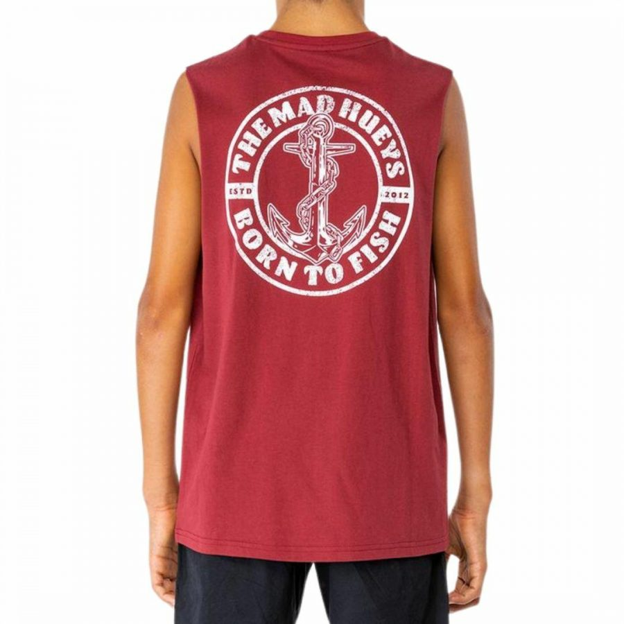 Anchor Drift Youth Muscle Boys Tanks And Singlets Colour is Maroon