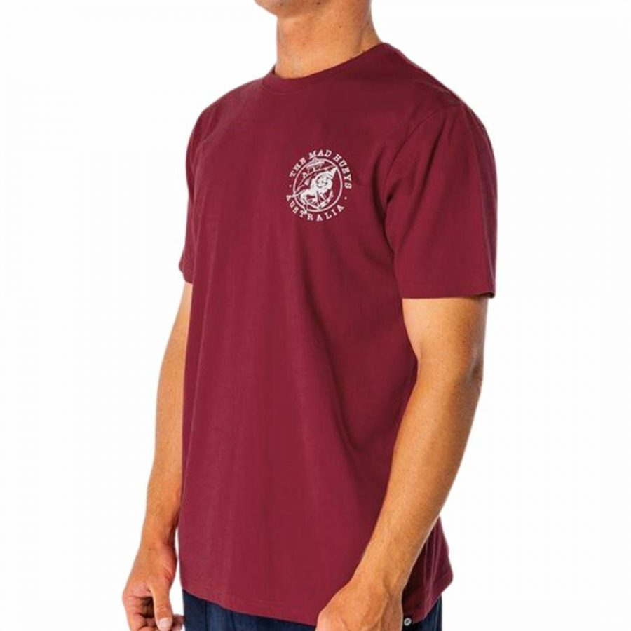 Mad Anchor Ss Tee Mens Tops Colour is Maroon