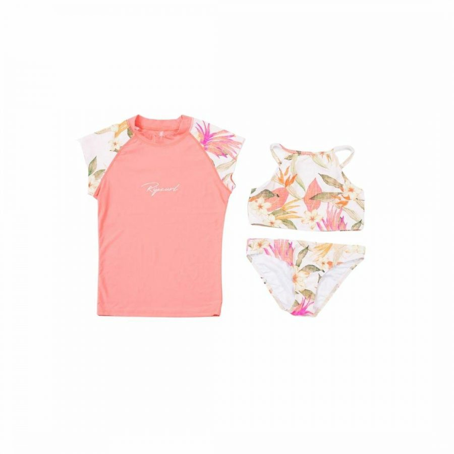 Girls 3 Piece Set Girls Rash Shirts And Lycra Tops Colour is Pink