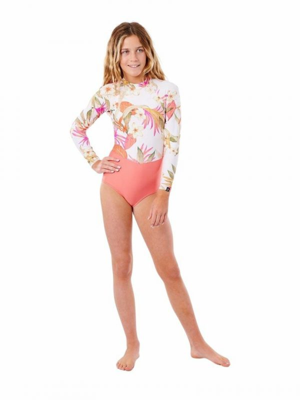 Girls Bz Ls Surfsuit Girls Rash Shirts And Lycra Tops Colour is Pink