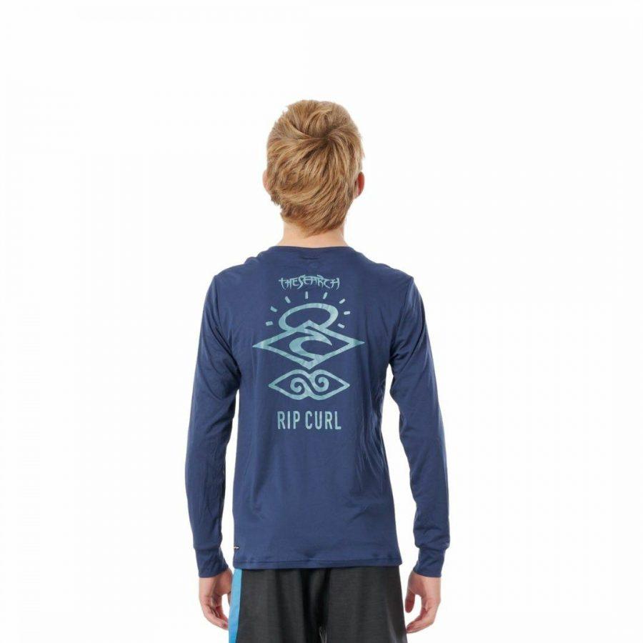 Boys Search Logo Ls Boys Rash Shirts And Lycra Tops Colour is Navy