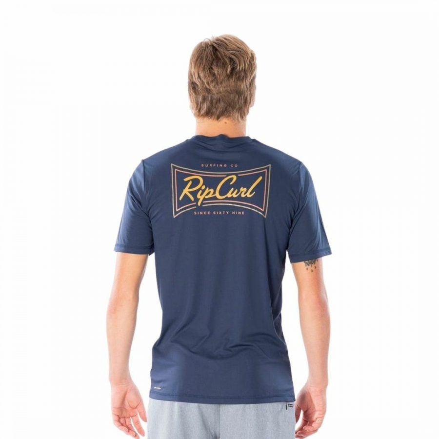 Commander S/sl Uvt Mens Rash Shirts And Lycra Tops Colour is Navy