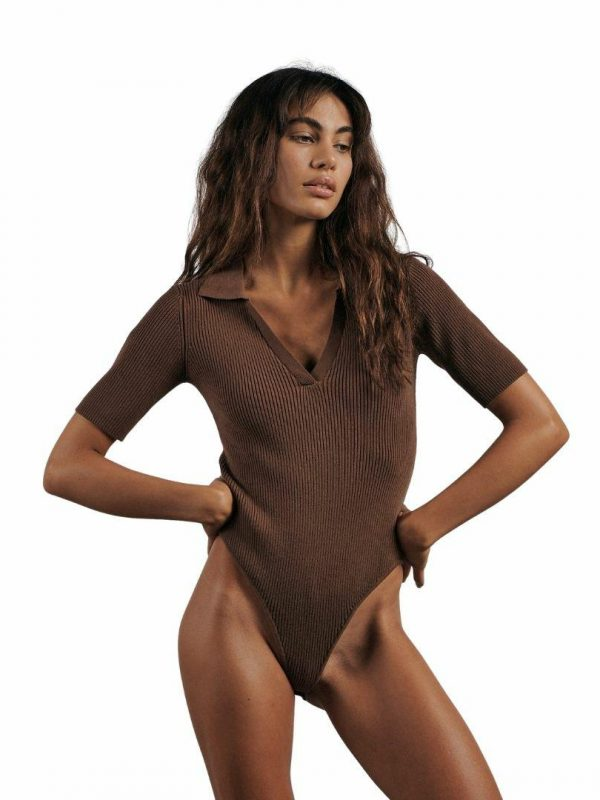 The Ribbed Bodysuit Womens Tanks And Singlets Colour is Expresso