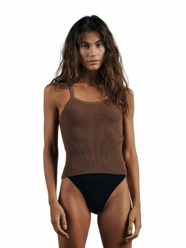 The Ribbed Knit Tank Womens Tanks And Singlets Colour is Expresso